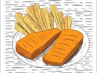 手绘矢量食物插画
