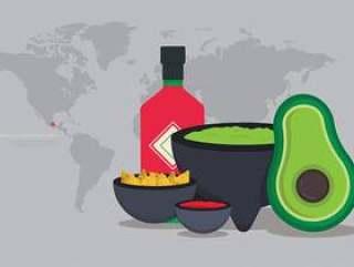 Molcajete墨西哥传统食物和研磨工具
