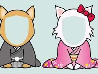 新年贺卡_和服的狗脸适合_第2部分