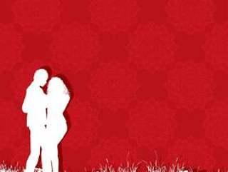 情人节那天情侣在红色图案背景上