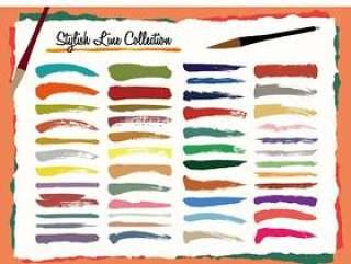 020日式笔刷线条的颜色
