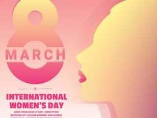 国际妇女`s天与文本和美丽的女人剪影矢量图