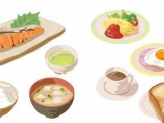 没有日式西式风格的早餐