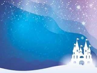 雪城堡和极光