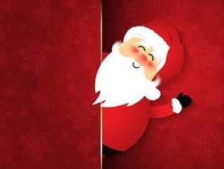 雪花背景上可爱的圣诞老人
