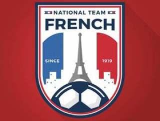 平现代法国足球徽章世界杯与红色背景矢量图
