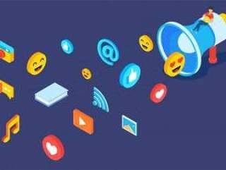 等距扩音器与不同的社交媒体元素矢量素材下载