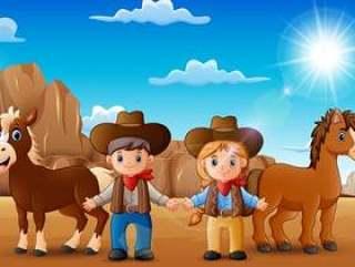 动画片牛仔和女牛仔有动物的在沙漠