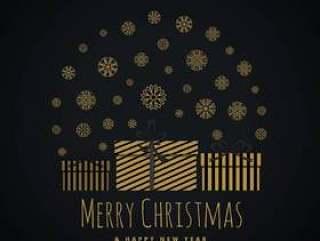 用雪花覆盖的礼品盒圣诞节节日问候的