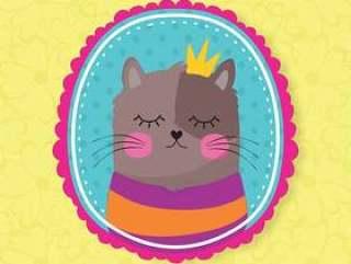 与冠的逗人喜爱的猫