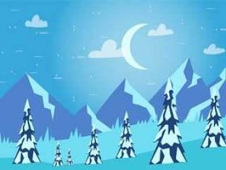 手绘矢量冬季景观图