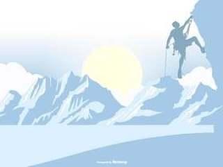 在风景背景的登山者剪影