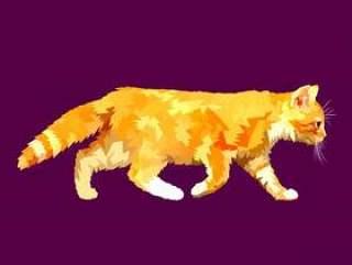 在多角形几何三角样式的走的猫