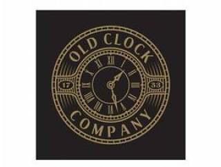 与Steampunk样式的葡萄酒/古董老时钟商标