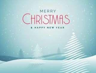 优雅圣诞贺卡与雪和创意树