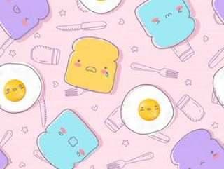 可爱的煎的鸡蛋和面包与脸情绪手绘制无缝模式。