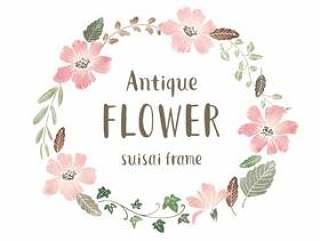 古色古香的水彩花卉框架