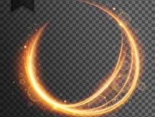 圆形金色镜头光晕透明光效果闪闪发光的巴