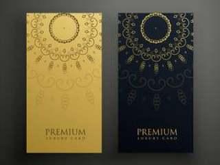 豪华曼荼罗卡设计金色和黑色的颜色