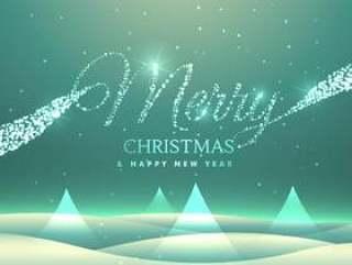 不可思议的快乐圣诞贺卡设计与多雪的背景