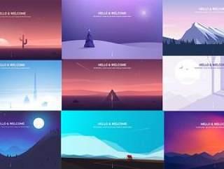 12款简约风景、场景插画、游戏剪影矢量素材