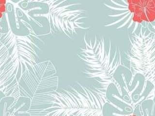 夏季无缝热带模式与龟背竹叶和花在蓝色背景上