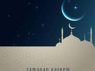美丽的夜景与清真寺和月亮,斋月贾巴尔迎接