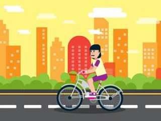 女孩骑自行车背景图