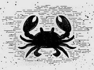 的老式手绘螃蟹剪影