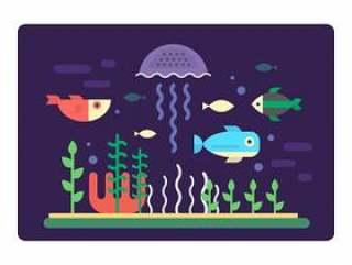 平坦的海洋生物
