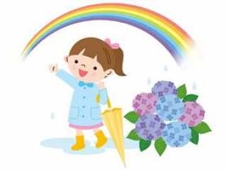 彩虹,绣球花和女孩