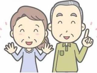 老年男人和女人d - 指着尼科尼科 - 胸围