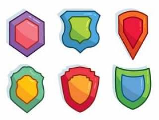 彩色的盾形状矢量