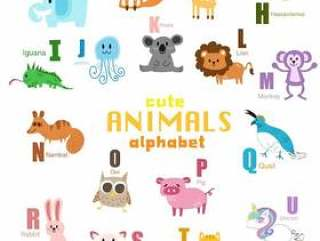 可爱的动物字母表一套。