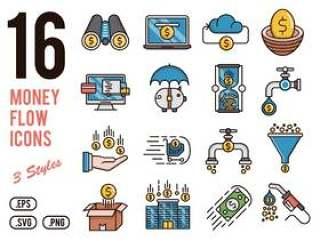16个金钱流程传染媒介象为机动性,网,介绍&印刷品项目设置了,16个金钱流程象
