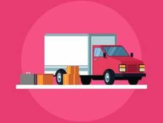 移动卡车和纸板箱矢量