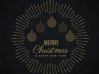 与垂悬的球的圣诞快乐贺卡设计