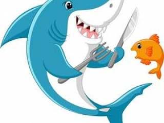 可爱的鲨鱼动画片立即可食一点鱼