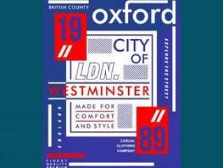 牛津城市排版都市t恤设计