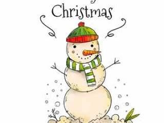 与雪的逗人喜爱的雪人圣诞节