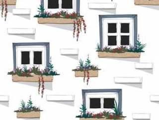 墙壁传染媒介无缝的样式背景有窗口的