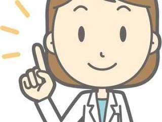 营养师女性 - 手指指向微笑 - 胸围