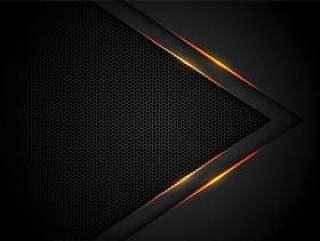 在黑色的黄灯箭头有六角形滤网背景。