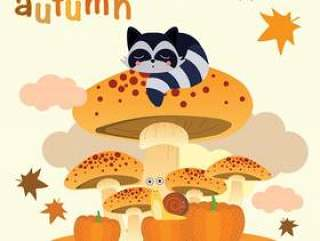 睡觉在蘑菇的浣熊