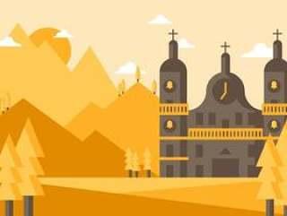 修道院景观图矢量