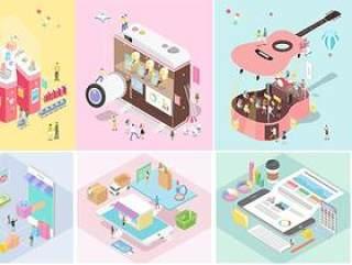 17款韩国卡通手绘2.5D二维等距空间建筑生活模型矢量AI设计素材