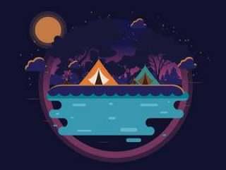 在山向量中的夜间露营