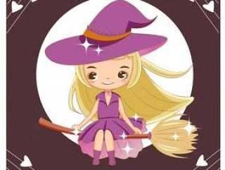 飞行逗人喜爱的巫婆向量用笤帚棍子