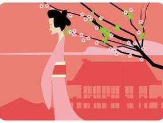 日本女孩和梅花矢量