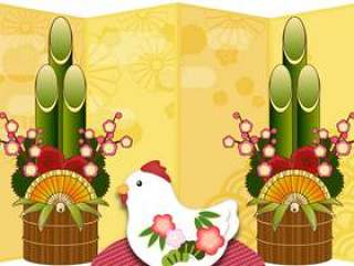 公鸡与金松树的装饰品